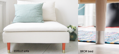 how to take existing ikea couch legs and change them